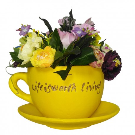 گلدان فنجان نعلبکی گل نیلوفر و نسترن کد 7942